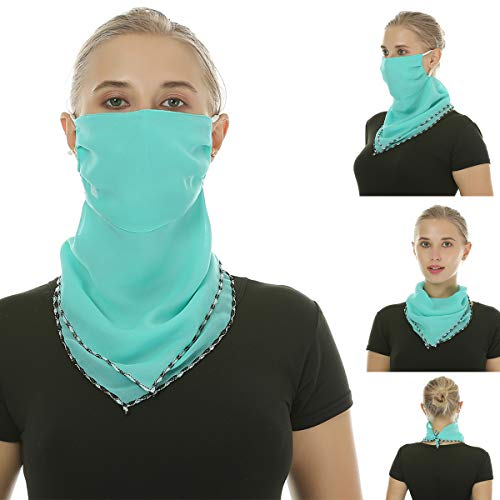 2 or 4 or 6 Pack Women Scarf Mask Chiffon Sun Dust Proof Face Covers Filter Pocket Neck Gaiter Balaclava