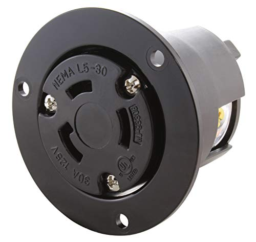 - AC WORKS [ASOUL530R] 30A 125V L5-30R Flanged Outlet UL and C-UL Listed