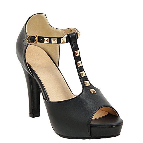 Charm Foot Moda Mujer Remaches T Correa Peep Toe Sandalias De Tacón Alto Negro