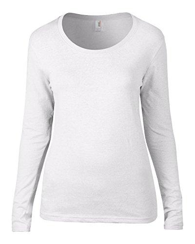 Anvil av122Mujer Algodón Sheer camiseta cuello redondo y manga larga Blanco XXL