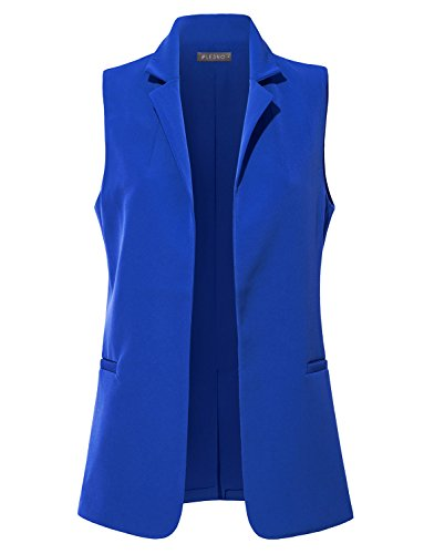 LE3NO Womens Classic Fully Lined Open Front Sleeveless Blazer Vest