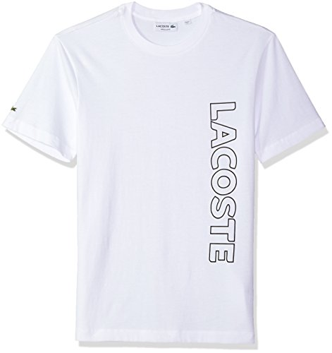 6064f48b74b Lacoste Men s Short Sleeve Graphic Jersey Tee Wording Logo