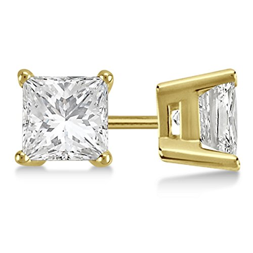 Princess Cut Diamond 4 Prong (3ct 4-Prong Basket Diamond Earrings 14K Yellow Gold Princess Cut G-H VS-SI)
