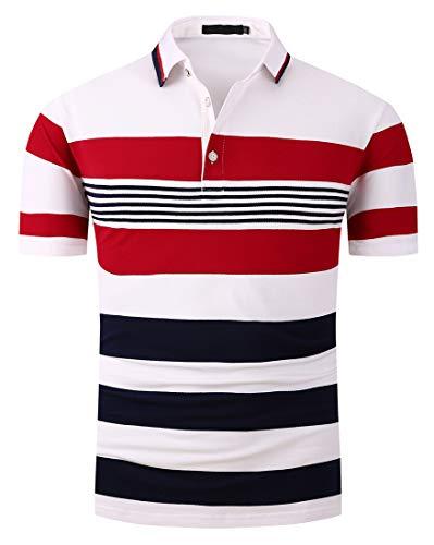 (FRTCV Mens Stripe Polo Shirts Short Sleeve Slim Fit Shirts US XL/Asian 4XL Red H06D)