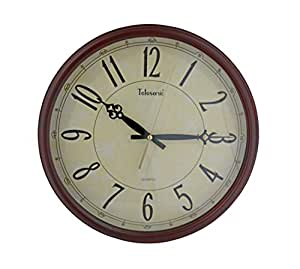 Amazon Com Telesonic Solid Wood Frame Wall Clock With Quiet Sweep Second Hand 15