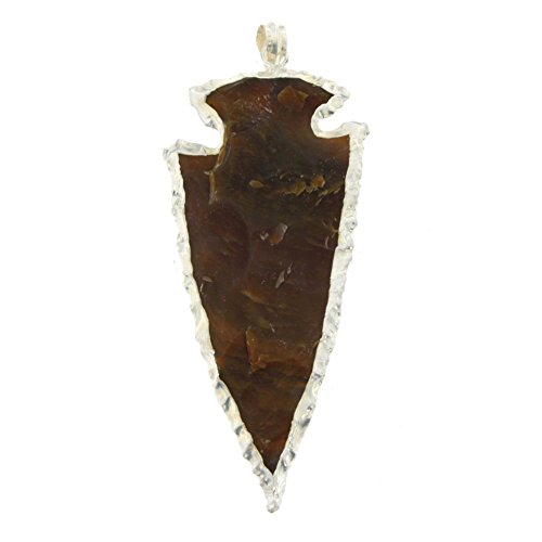 Starborn Creations Silver Plate Hand Carved Jasper Arrowhead Pendant