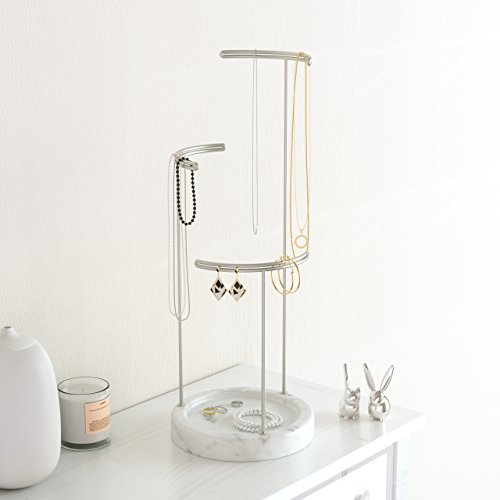 Umbra Tesora Organizer and Jewelry Faux Marble, Resin and Nickel Plated Stand, White
