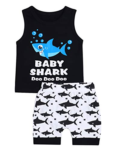 Baby Boy Clothes Shark and Doo Doo Print Summer Cotton Sleeveless Outfits Set Tops and Short Pants(18-24 Months)