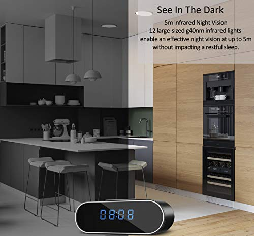 Hidden Camera WiFi Spy Camera,HOSUKU Clock 1080P Hidden Cameras Wireless IP Surveillance Camera for Home Security Monitor Video Recorder Nanny Cam 140°Angle Night Vision Motion Detection by HOSUKU (Image #5)