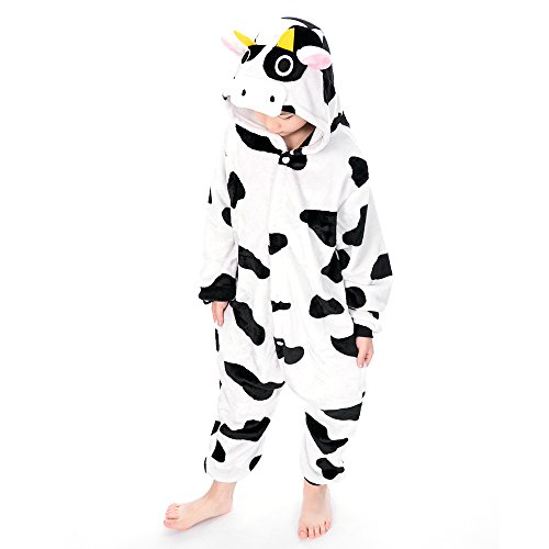 100% Cow (Coolpay Cute Unisex Animal Pattern Children Pajamas Cosplay Bath-Towel Costume Sleepwear for Kid Perfect as Halloween or Christmas Gifts to Baby and Children (100#, Cows))