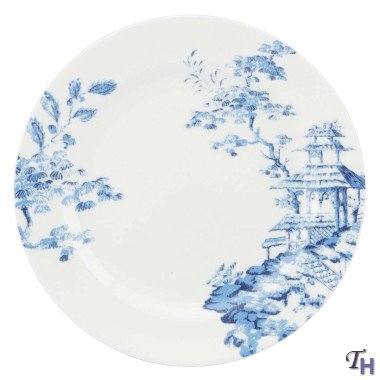 SCALAMANDRE BY LENOX TOILE TALE SKY BLUE Dinner plate