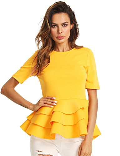 Romwe Women's Vintage Layered Ruffle Hem Slim Fit Round Neck Peplum Blouse Yellow S (Layered Blouse Ruffle)