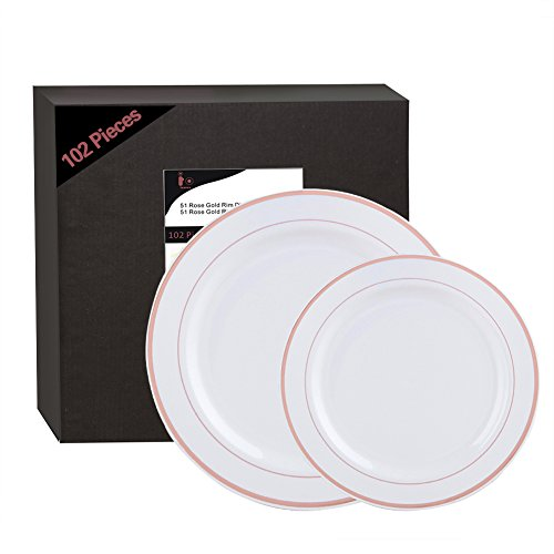 102 Pieces Rose Gold Plastic Plates, White Party Plates, Premium Heavyweight Disposable Wedding Plates Includes: 51 Dinner Plates 10.25 Inch and 51 Salad / Dessert Plates 7.5 Inch - Rose Dessert