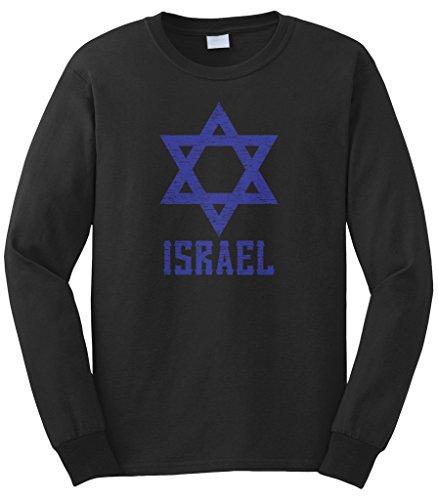 - Cybertela Men's Israel Star Long Sleeve T-Shirt (Black, Large)