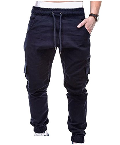 QUHS Men's Outdoor Elastic-Waist Pockets Beam Foot Trousers