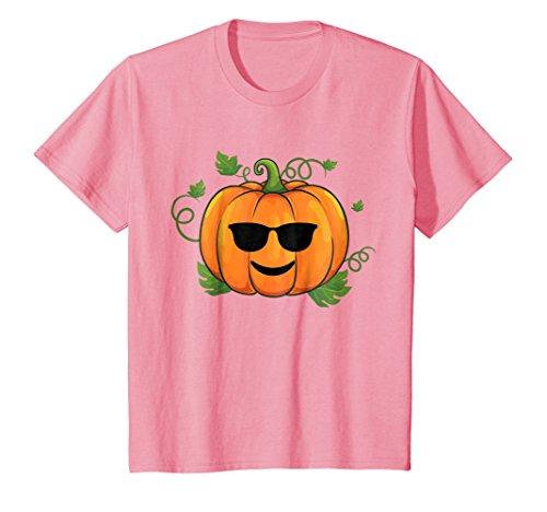 Kids Pumpkin Emoji T-Shirt Cool Shades Halloween Gift