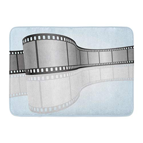Emvency Bath Mat Bend Black Roll Cinema Movie Photography 35 Mm Film Strip 3D Colorful Animation Blank Bathroom Decor Rug 16