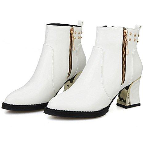 RTRY Chaussures Pour Femmes En Cuir Nubuck Printemps Automne Comfort Bottes Mode Boots Talon Chaussures Bottines / Boots Fermeture Éclair Pour Une Tenue Décontractée Black Us6 / Eu36 / Uk4 / Cn36 5M1Axz