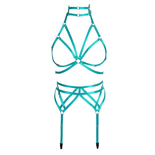 Strappy Harness Full Set Women's Punk Gothic Caged Bra Elastic Plus Size Leg Waist Stockings Garter Belts (Jade Green)