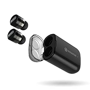 Rowkin Micro: True Wireless Earbuds w/Charging Case. Bluetooth Headphones Smallest Cordless Hands-free Mini Earphones Headset w/Mic & Noise Reduction for Android, Samsung & iPhone (Black)