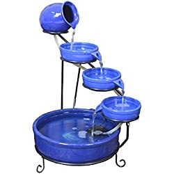 ASC Terracotta Sundance Ceramic Solar Water Fountain (Blue with Battery and LED)