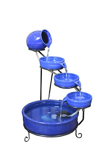 ASC Terracotta Sundance Ceramic Solar Water Fountain (Blue with Battery and LED) by ASC