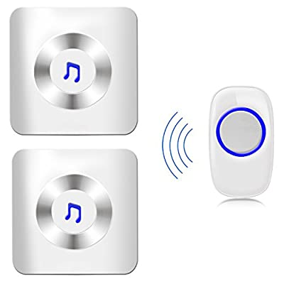 AMAZING162 New Release Modern Design Easy Chime - Portable Waterproof Wireless Doorbell Door Chime Kit with Remote Controlfor Home Office 1 transmitter with 2 receiver