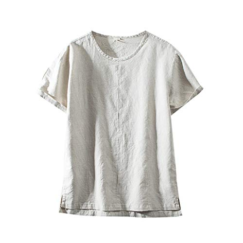 (TOPUNDER Fashion Men's Cotton Linen Solid Color Short Sleeve Retro T Shirts Tops Blouse Khaki)