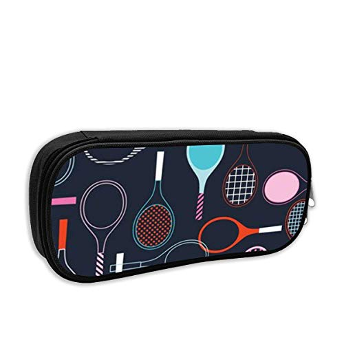 Good day 2019 Badminton Racket Pencil Case Big Capacity Pencil Bag Makeup Pen Pouch Durable Stationery with Double Zipper Pen Holder for Office