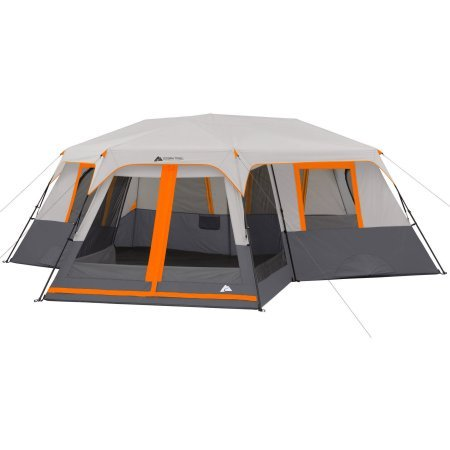 3 Room Camping Tent - Ozark Trail 12-Person 3-Room Instant Cabin Tent with Screen Room (Orange)
