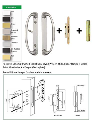 """Rockwell Sonoma Sliding Door Handle Set with 3-15/16"""" CTC Screwholes in Brushed Nickel Finish with Mortise Lock and Keeper fits up to 1-3/4 inch Thick Doors with a 3 or 4 Hole bore"""