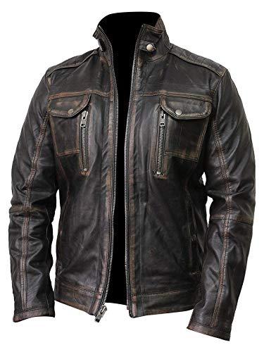 ckets Cafe Racer Biker Distressed Black Vintage Motorcycle Leather Jacket ()