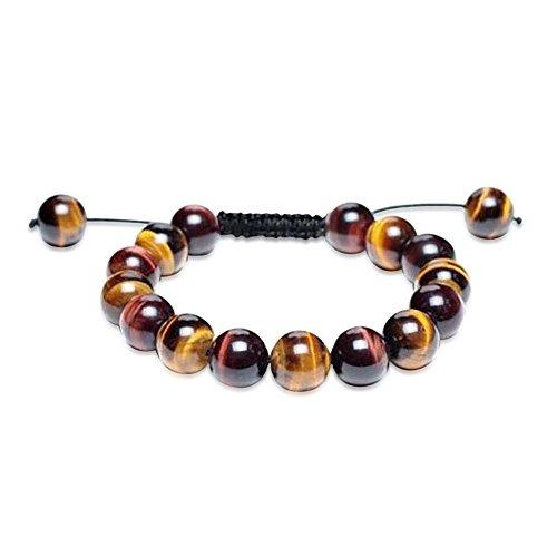 Shamballa Inspired Bracelet Simulated Tiger Eye Round Beads -
