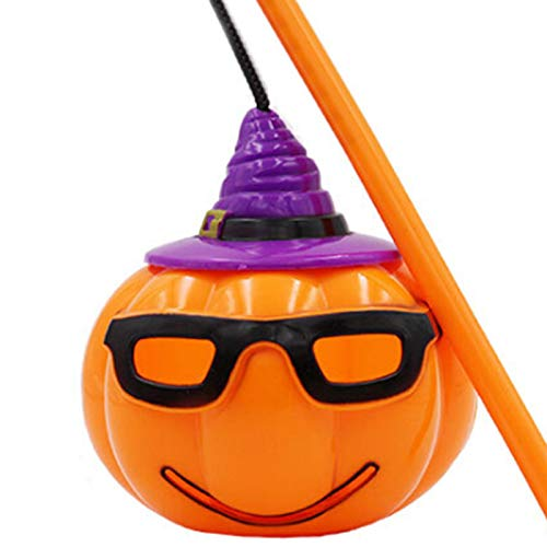 XINdream Halloween Hand-Held Pumpkin Lamp, Portable Funny 4 Face Emoticon Lantern Light Voice-Activated Scene Festival Party Props Decoration (with Button Battery)]()