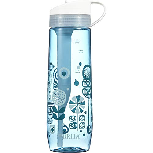 Brita 23.7 Ounce Hard Sided Water Bottle with 1 Filter, BPA Free, Printed Blue
