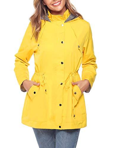 (iClosam Women Raincoats Waterproof Rain Jacket Lightweight Hood Lining Jacket Windbreaker (Yellow, Medium))