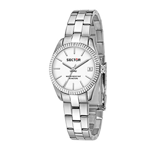 SECTOR Women's 240 Quartz Sport Watch with Stainless-Steel Strap, Silver, 16 (Model: R3253240507