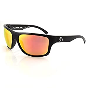 Filthy Anglers Superior Men's Fishing Sunglasses, Wrap around Frame, Polarized Lenses (Black, Smoked Polarized with Red Mirror)