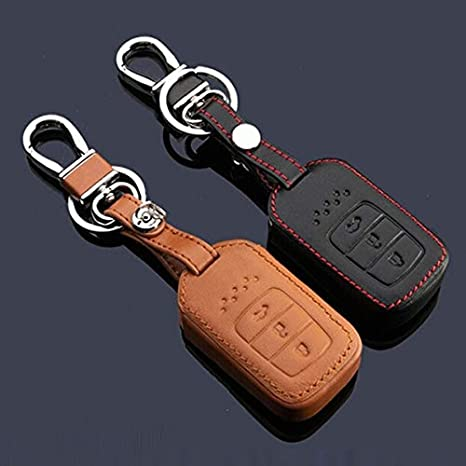 Leather Key Fob Remote Cover Case Skin Jacket Holder Protector for Honda Accord 9 Crider 3 Buttons Smart Key Black