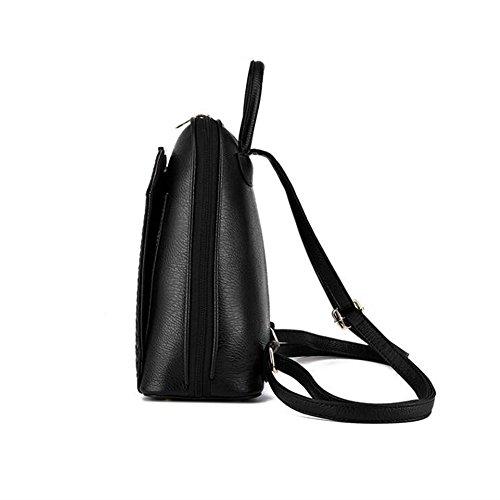 Wewod Mujeres Mochilas Moda de Escolares Niña de Sólido Color Mochilas Tipo Casual Bolso Escolar de Patrón de Tejer de PU Cuero 26 x 30 x 13 cm (L X H x W ) Negro