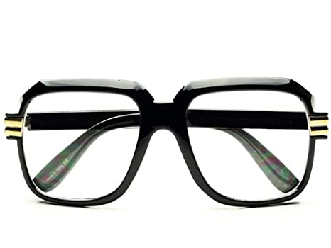 legendary run cazal style gazelle retro square clear lens eye glasses black gold