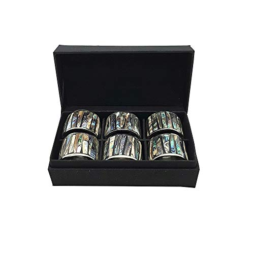 (ShopThai55 Napkin Ring Abalone Shell Set in Silk Box (6 pcs.))