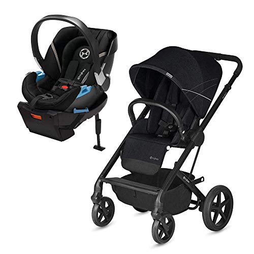 Cybex Balios S Stroller, Lava Stone Black & Aton 2 Infant Car Seat, Black