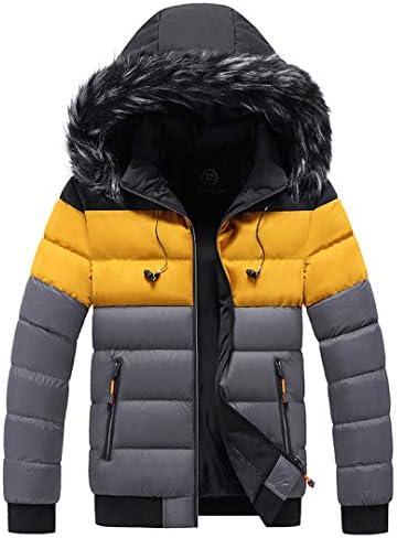 Hommes à capuche col de fourrure Parkas hiver épais chaud Parkas vestes coton coupevent HQ215 gris XXL