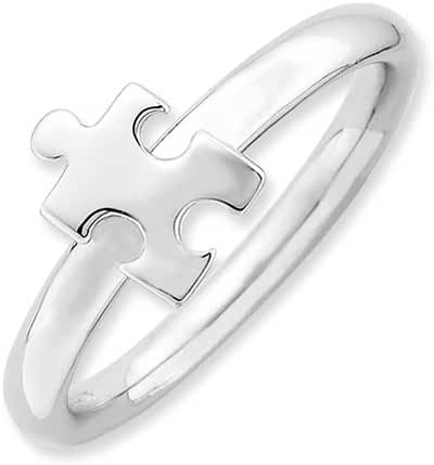 2.5mm Rhodium Polished Sterling Silver Autism Awareness Puzzle Piece Trendy Fashion Ring Band