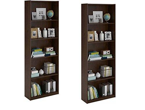 Ameriwood 5-shelf Bookcase, Set of 2, Brown (Northfield Alder)