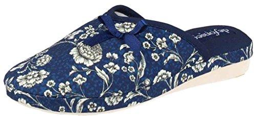 DE FONSECA ciabatte pantofole cotone da donna mod. VERONA W143 blu scuro