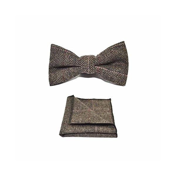 Luxury-Herringbone-Mocha-Brown-Bow-Tie-Pocket-Square-Set-Tweed-Plaid-Country-Look