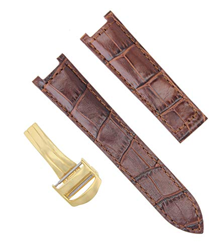 LEATHER WATCH BAND STRAP DEPLOYMENT CLASP FOR CARTIER PASHA 20MM BROWN #2PC GOLD