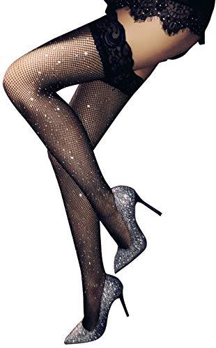 TGD Women's Rhinestone Fishnet Tights Suspender Pantyhose Thigh High Stockings (W31 Black)
